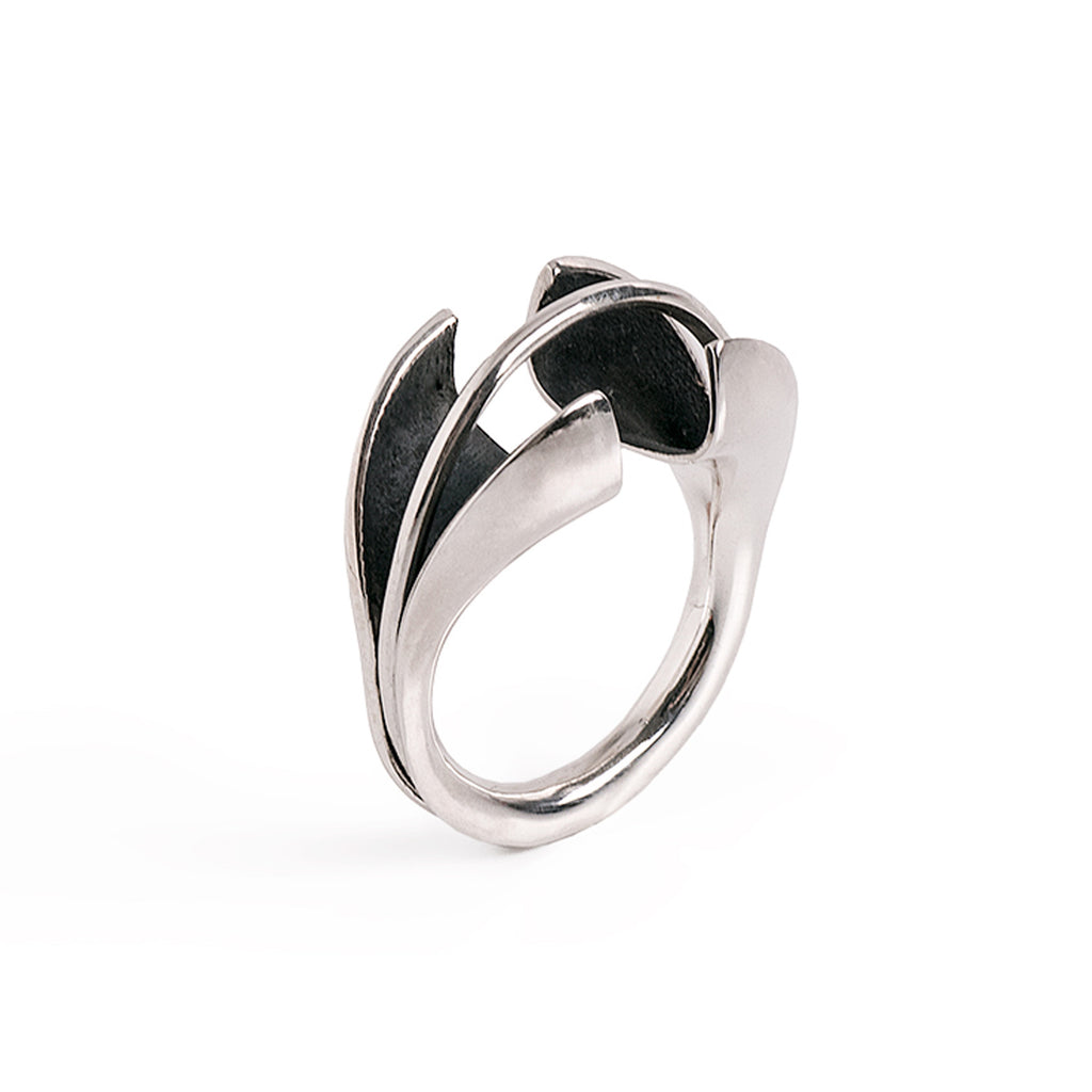 contemporary ring, novelty ring, statement ring, black silver ring, modern handmade by lacuna jewelry