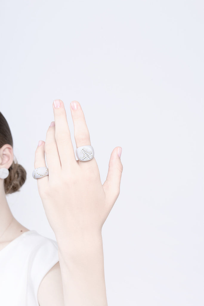 contemporary white ring, bride ring, novelty ring, statement ring by lacuna jewelry, yafit ben meshulam
