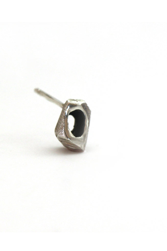 Black silver unique tiny stud earring for men by lacuna jewelry
