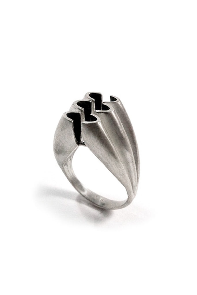 Contemporary statement cocktail chunky Sterling Silver ring by lacuna jewelry