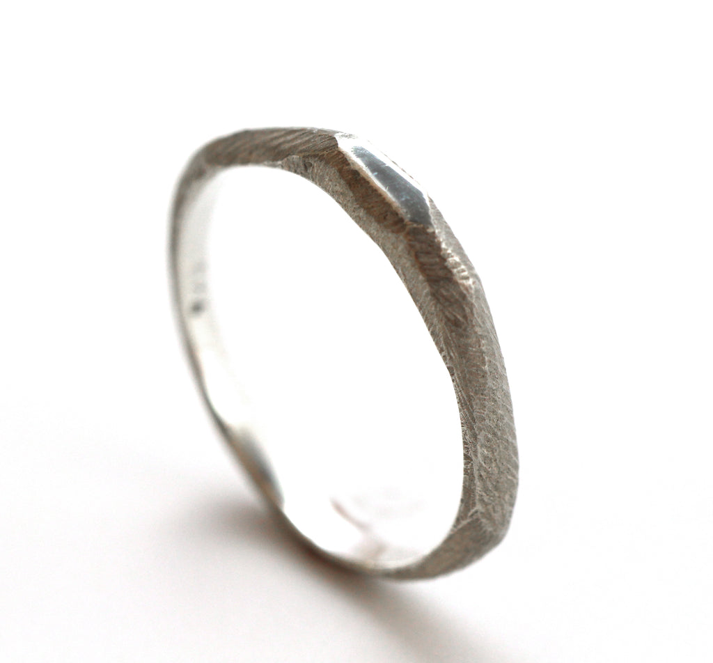 Unique simple chiseled ring Sterling Silver ring by lacuna jewelry