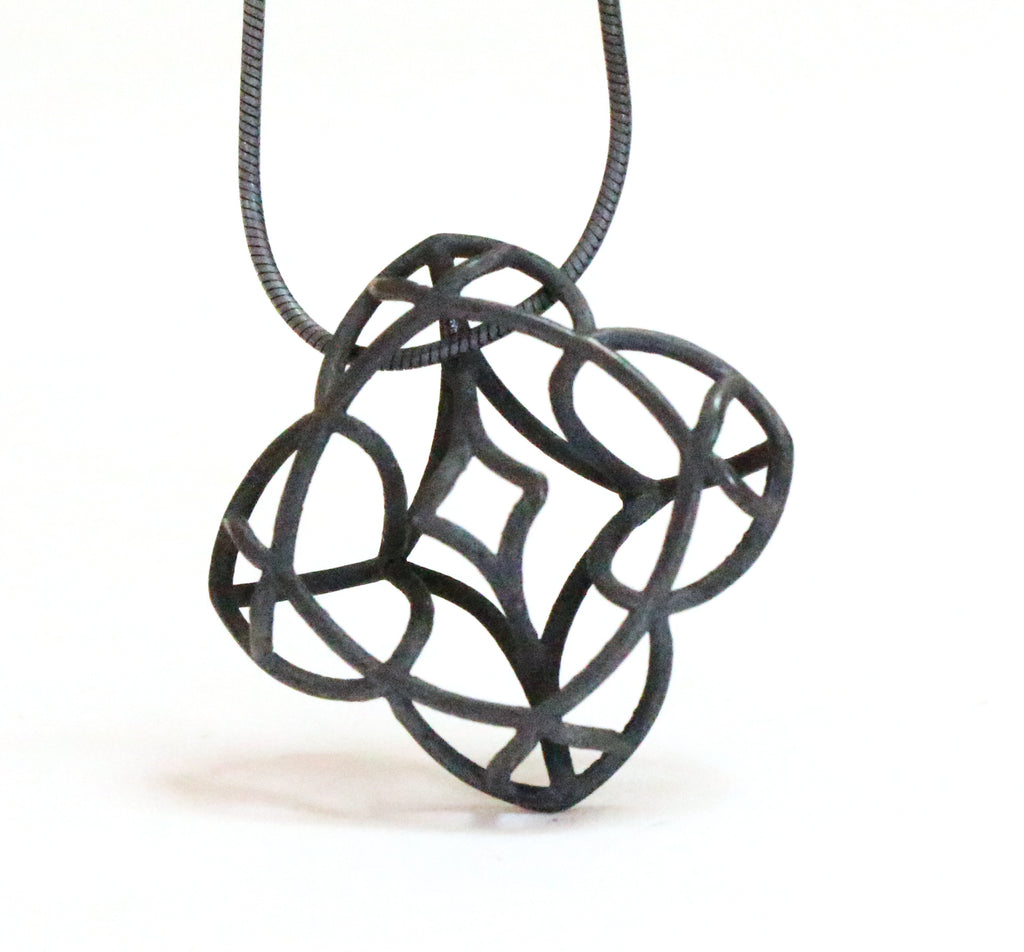 dainty romantic black silver necklace by lacuna jewelry