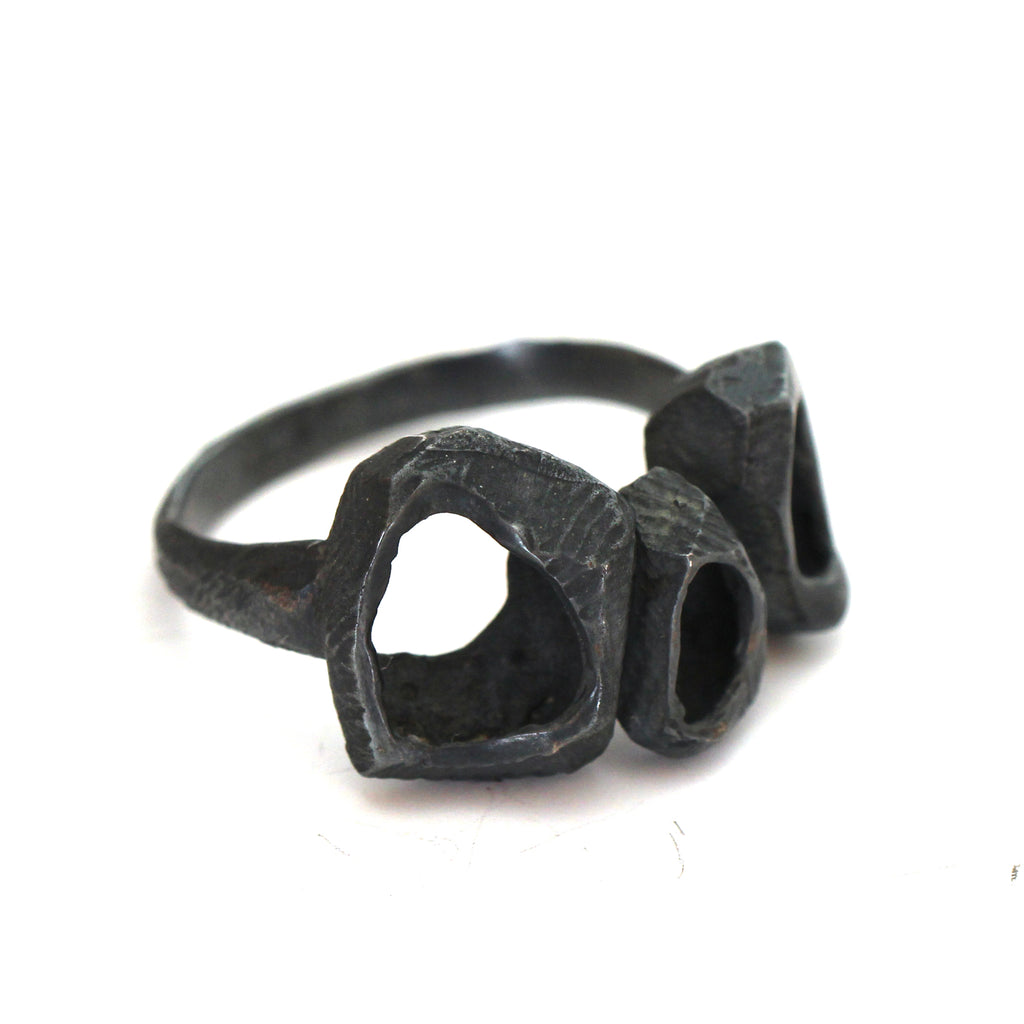 black unique chunky statement ring made from 925 sterling silver by lacuna jewelry