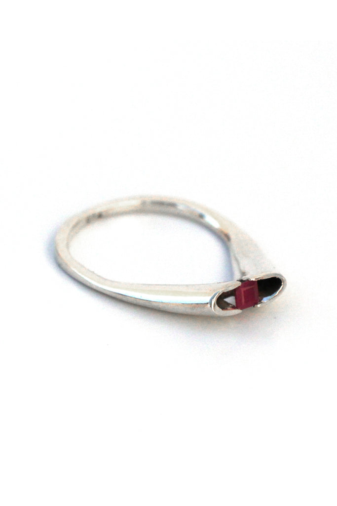 contemporary dainty Ruby silver ring by lacuna jewelry