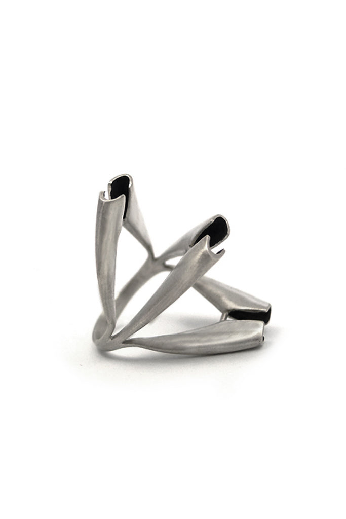Contemporary statement chunky Silver ring by lacuna jewelry