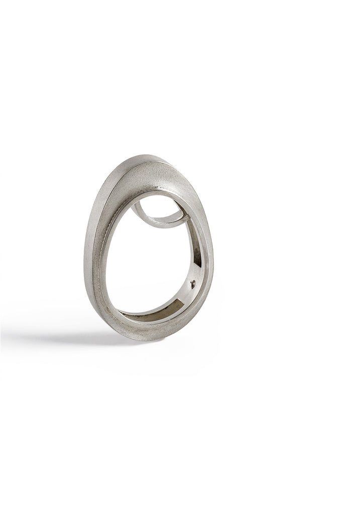 contemporary statement sterling silver ring by lacuna jewelry