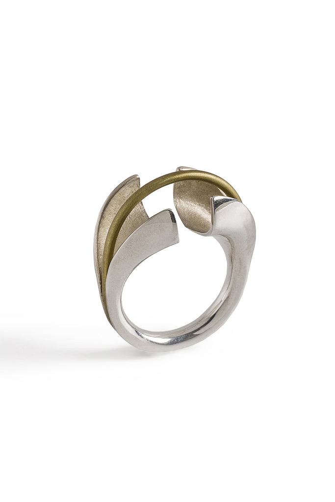 contemporary statement mixed metal silver ring by lacuna jewelry