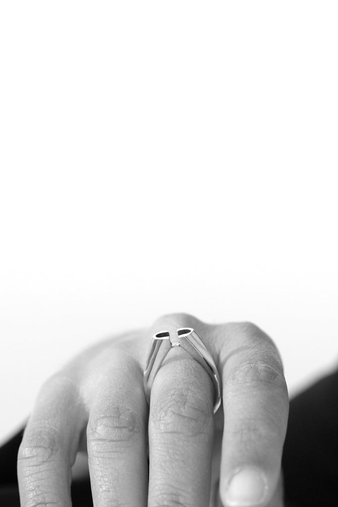 contemporary unique dainty silver ring by lacuna jewelry