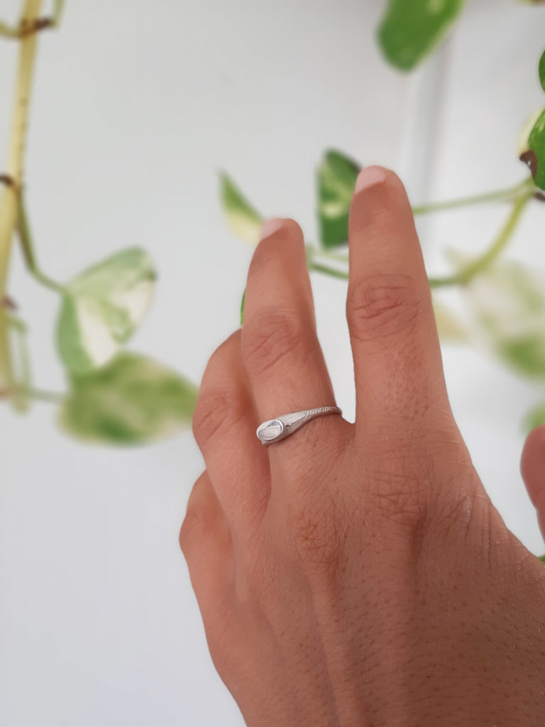 unique dainty raw style silver ring by lacuna jewelry