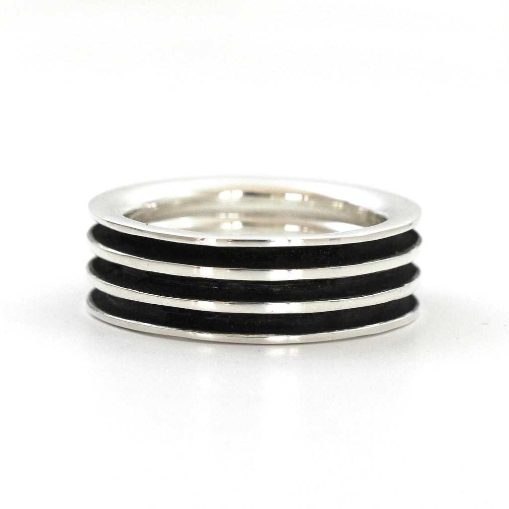 unique elegand silver wedding ring band for men by lacuna jewelry