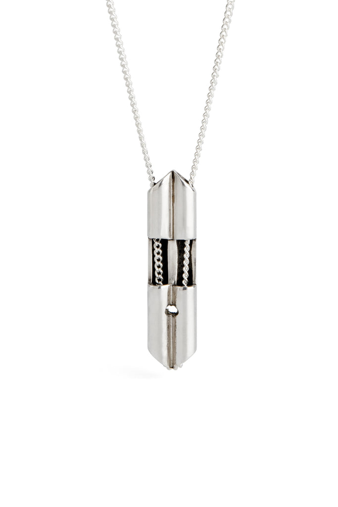 modern silver necklace for men by lacuna jewelry