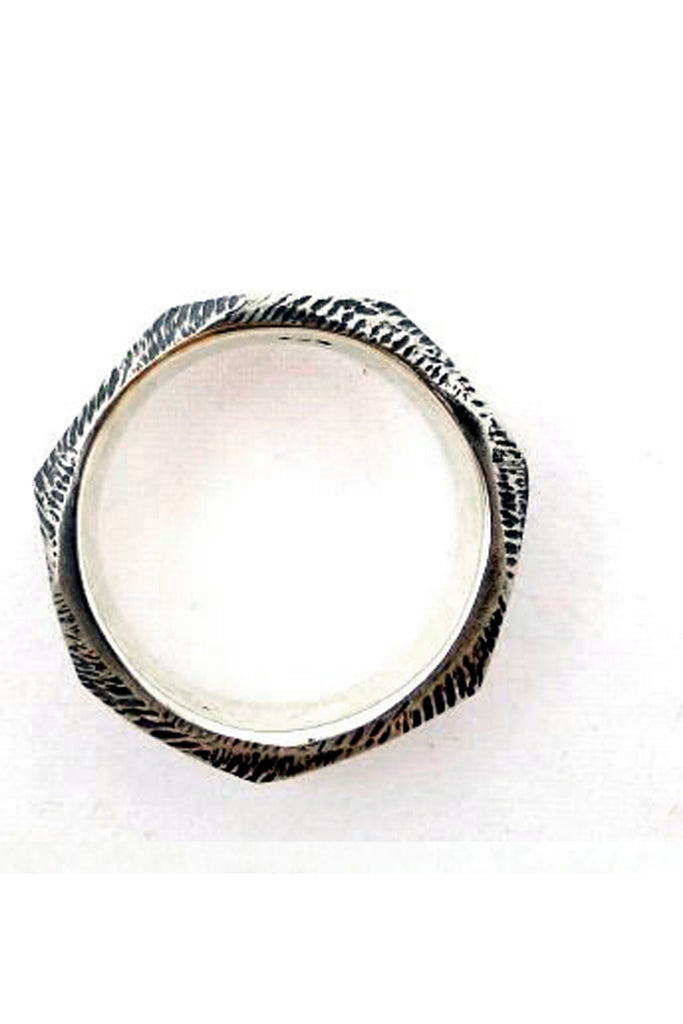 punk screw silver ring for men by lacuna jewelry