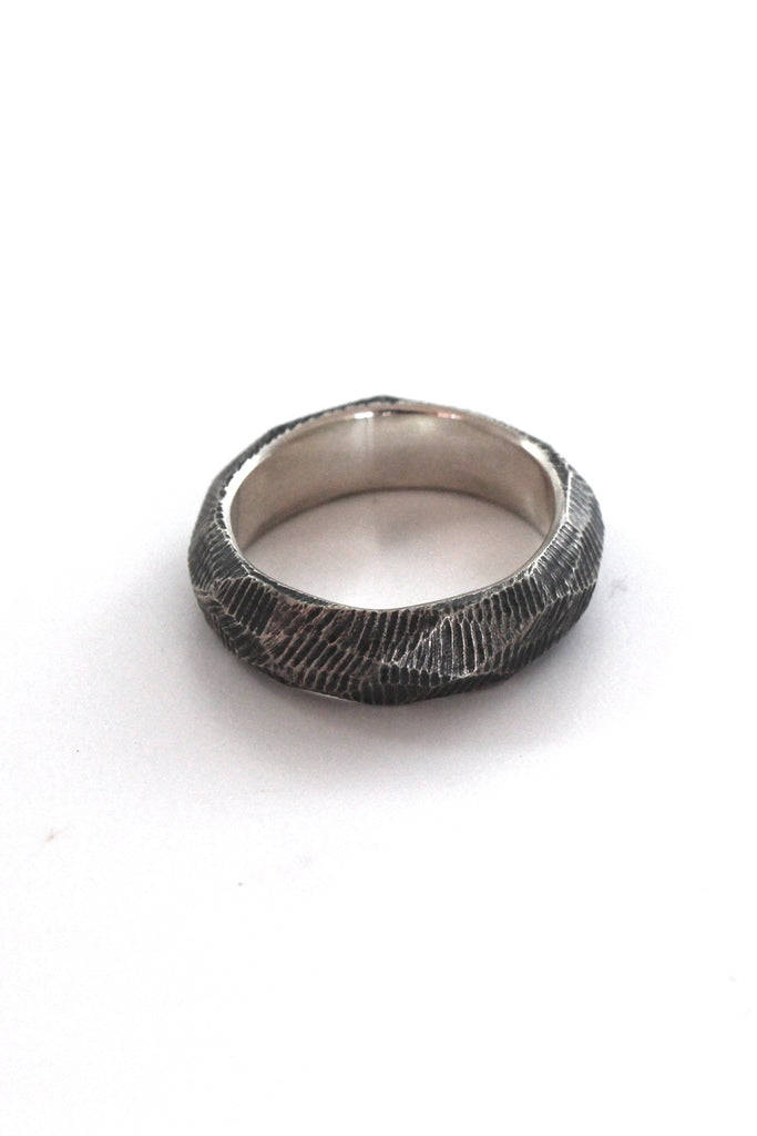 raw chiseled wedding ring band for men by lacuna jewelry
