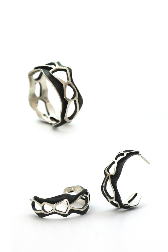 design silver ring and earrings by lacuna jewelry