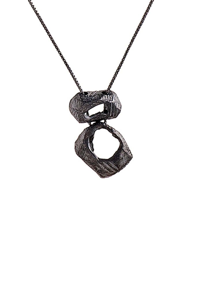 genderless unisex statement oxidized black silver pendant necklace for men and women by lacuna jewelry