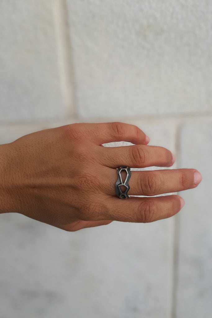 unique Braided Silver Ring band by lacuna jewelry