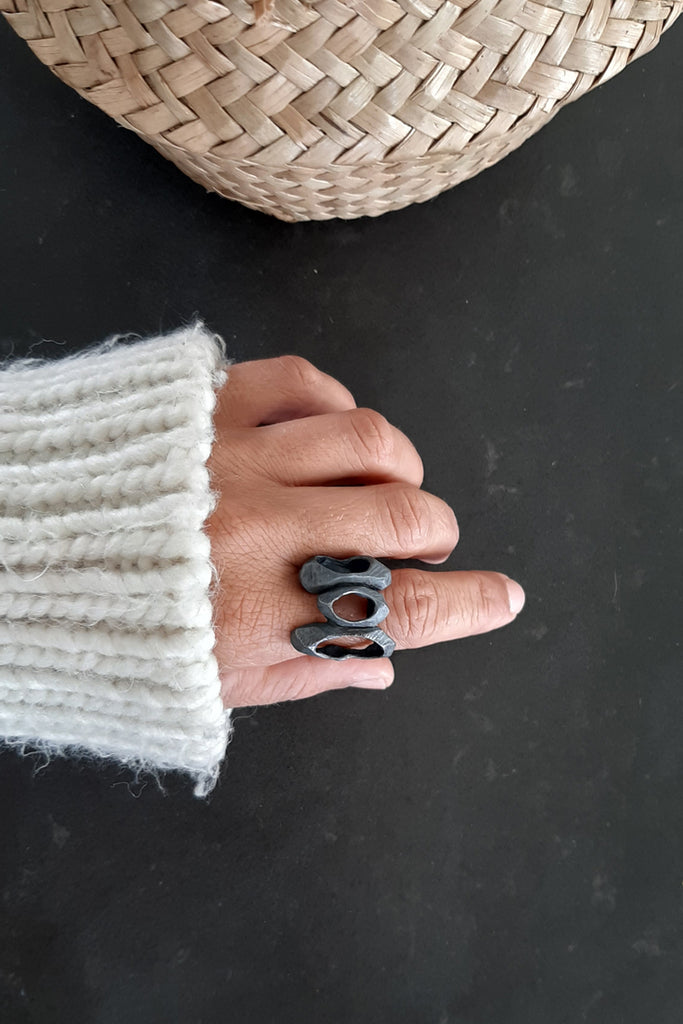 Unique chunky statement ring made from black oxidized sterling silver by lacuna jewelry