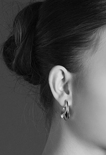 Unique chunky hoop earrings made from 925 Sterling Silver oxidized
