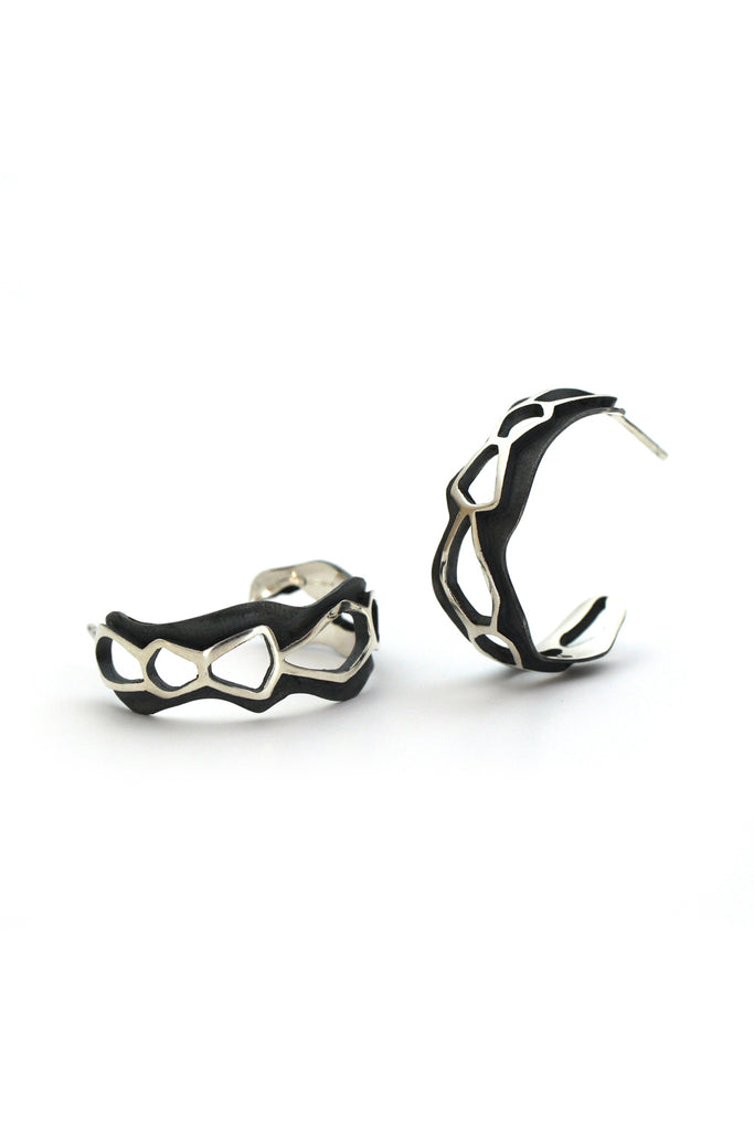 unique chunky silver hoop earrings by lacuna jewelry