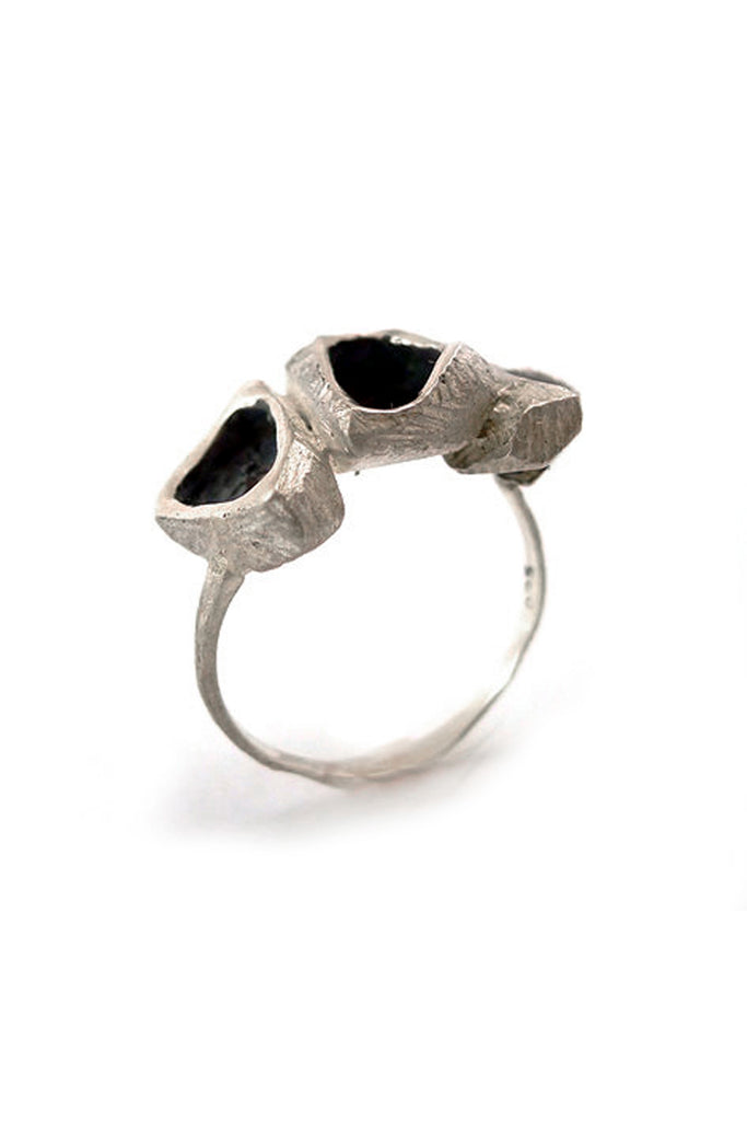 Unique contemporary raw Silver ring by lacuna jewelry