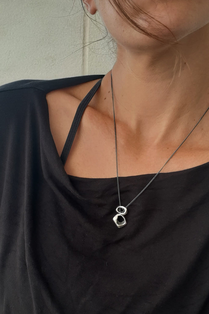 unique oxidized silver pendant necklace by lacuna jewelry