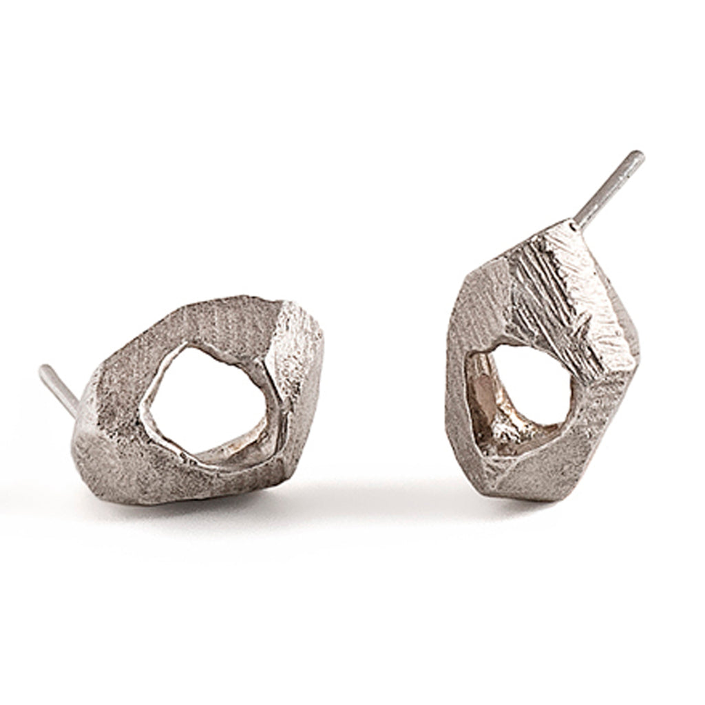 unique silver stud earrings by lacuna jewelry