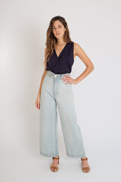 Jesse Kamm - Sailor Pant in Bleached Denim