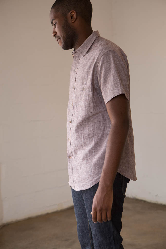 Two Son - 50/50 Short Sleeved Button Down Shirt in Rootbeer