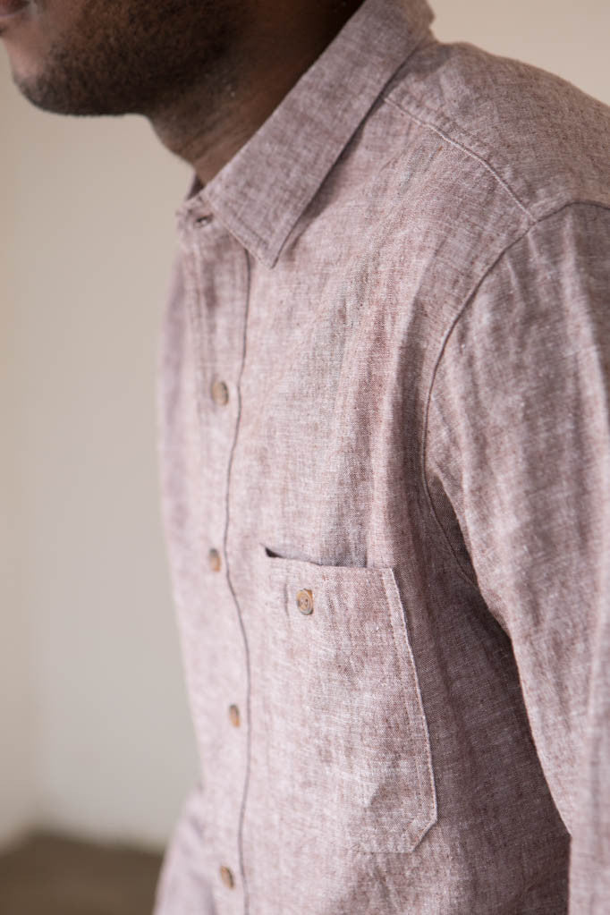 Two Son - 50/50 Button Down Shirt in Rootbeer