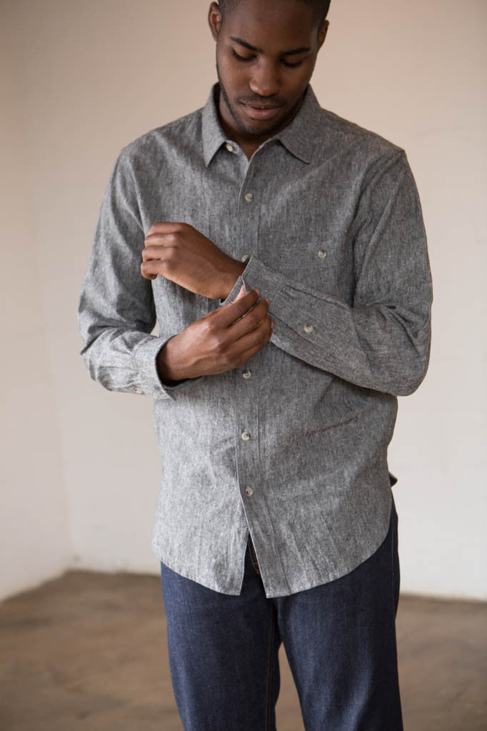 Two Son - 50/50 Button Down Shirt in Ash