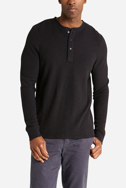Life After Denim - Thermal Henley in Black