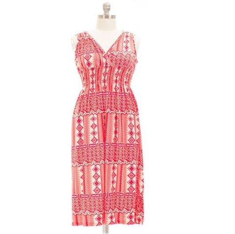 Women`s Sleeveless Red Scoop Plus Maxi Smocked Summer Dress