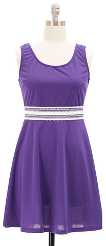 Belted Skater Dress - Violet