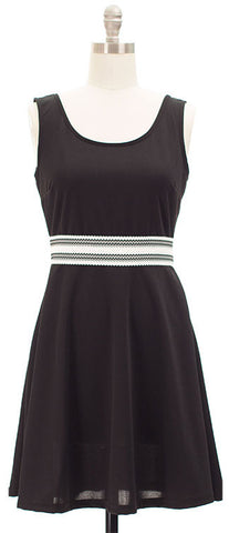 Belted Skater Dress - Black