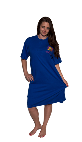 Ladies Cotton Sleep Shirt Royal
