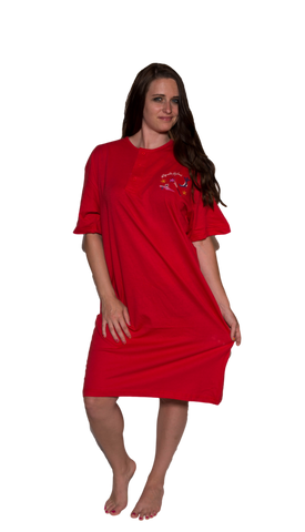Ladies Cotton Sleep Shirt Red