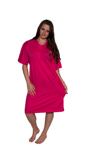 Ladies Cotton Sleep Shirt Pink