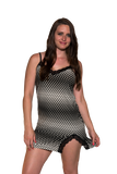 Ladies Chemise - Classic printed babydoll Black White Dots Print