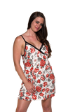 Ladies Chemise - Classic printed babydoll White - Red  Floral Print