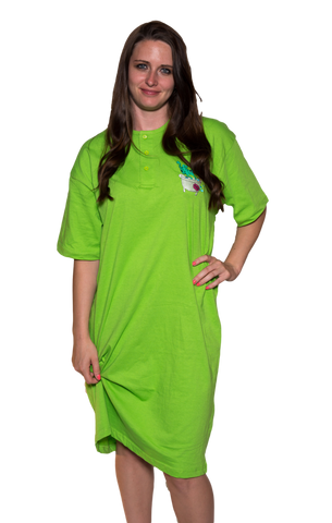 Ladies Cotton Sleep Shirt Lime