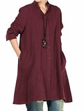 Women's New Cotton Linen Full Front Buttons Jacket Outfit with Pockets
