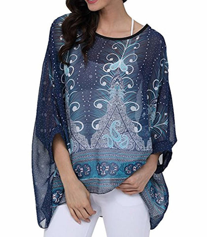 Women Chiffon Blouse Floral Batwing Sleeve Beach Cover Up Loose Tunic Shirt Tops