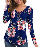 Women's Fall Long Sleeve V-Neck T-Shirt Tunic Tops Criss Cross Casual Blouse Shirts