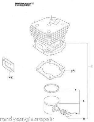 PISTON CYLINDER kit HUSQVARNA 346XP 353 544142904 parts