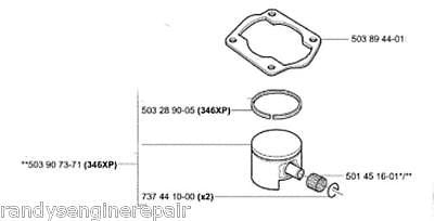 oem PISTON ASSY HUSQVARNA 346XP 503 90 73-71 503907371