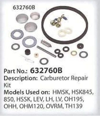 CARBURETOR REBUILD REPAIR KIT TECUMSEH OHH50 632760B