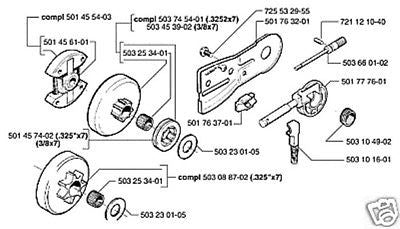 part guide plate Husqvarna chainsaw 50 51 55 501763201