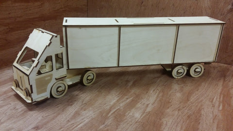 Laser Cut Wooden Model Kit Semi Truck Lorry Cabover Ages 8+. Customization available! FREE US SHIPPING!