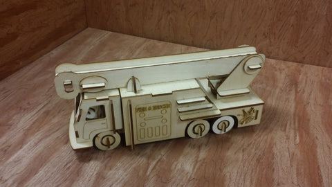 Laser Cut Wooden Model Kit Fire Truck Ages 8+. Customization available! FREE US SHIPPING!