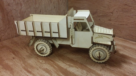 Laser Cut Wooden Model Kit Dump Truck Ages 8+. Customization available! FREE US SHIPPING!